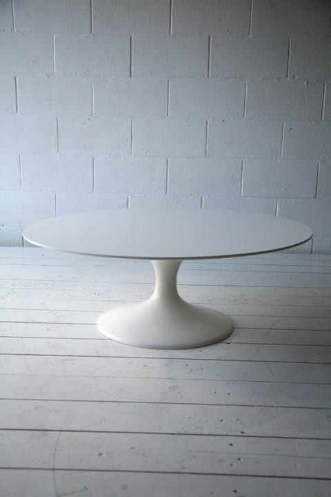 Large 1960s tulip coffee table cream and chrome for Large cream coffee table