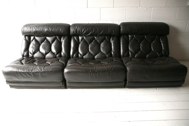 1970s Brown Leather Sofa Chairs By Tetrad Uk Cream And