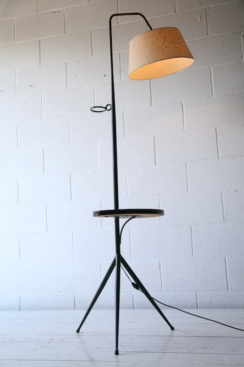 Large 1950s French Floor Lamp With Side Table Cream And Chrome