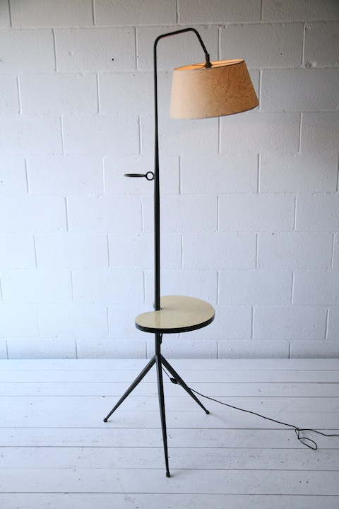 Large 1950s french floor lamp with side table cream and for Large cream floor lamp