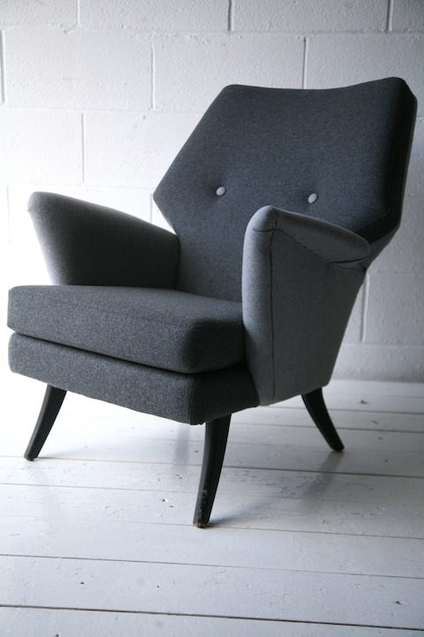 Vintage 1950s 'Escort' Armchair and 'Oracle' Stool by Howard Keith UK 1