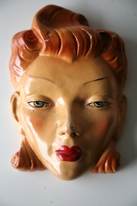 1950s Decorative Chalkware Heads Cream And Chrome