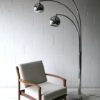 Large 1970s Chrome and Marble Floor Lamp