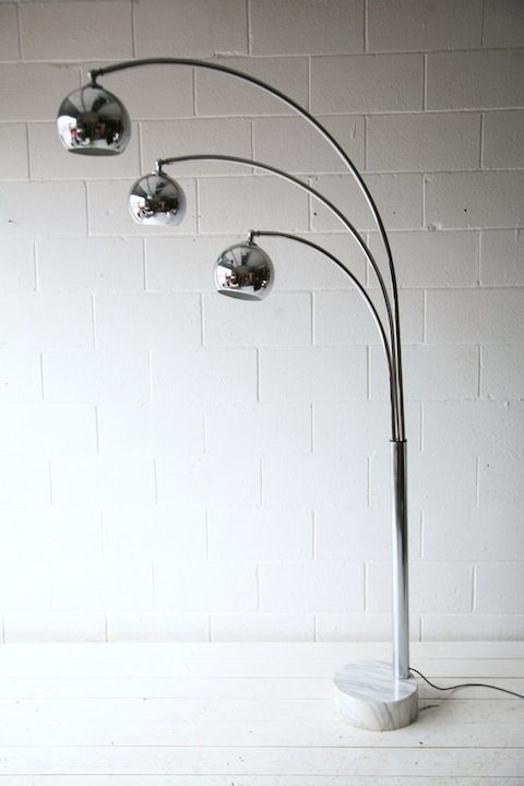 Large 1970s Chrome and Marble Floor Lamp1