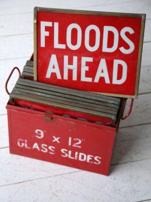 Set of 9 Vintage Glass Road Warning Slides