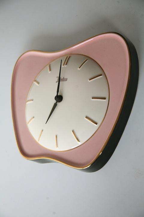 Vintage 1950s Ceramic Wall Clock Cream And Chrome