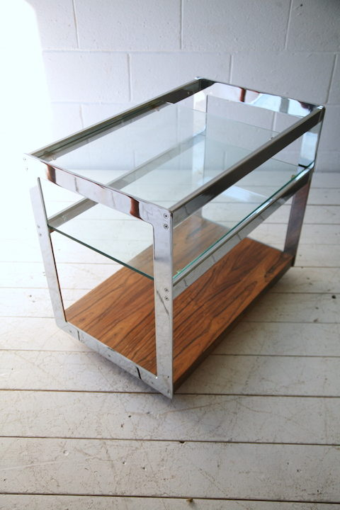Chrome and Rosewood Trolley by Merrow Associates 2