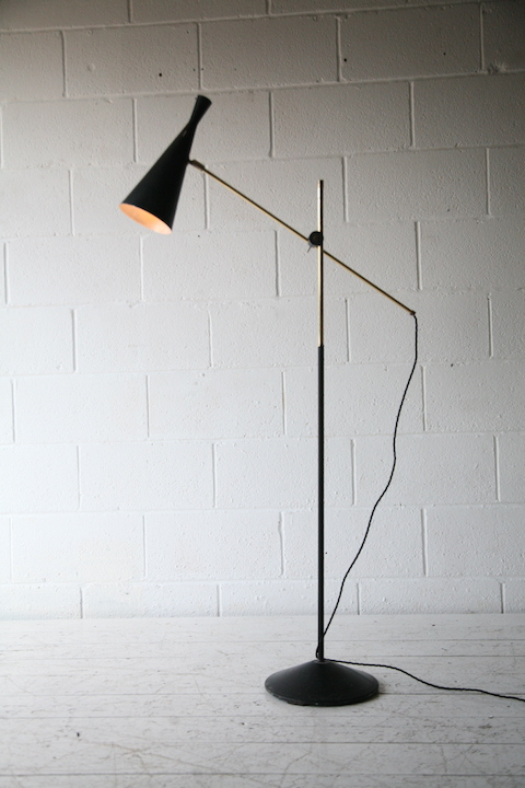 Vintage Floor Lamp By Ga Scott For Maclamp Cream And Chrome