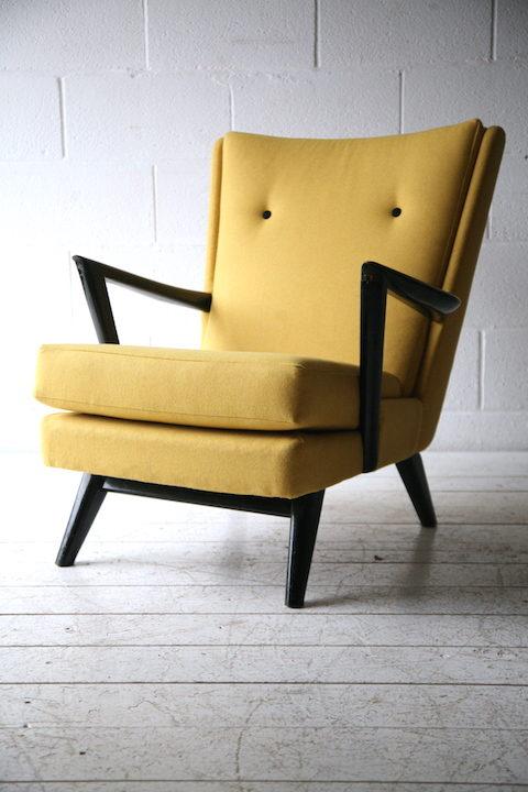 1950s Yellow Black Armchair