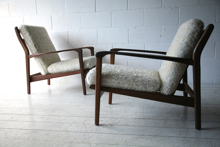 1960s Afromosia Lounge Chairs By Toothill Cream And Chrome