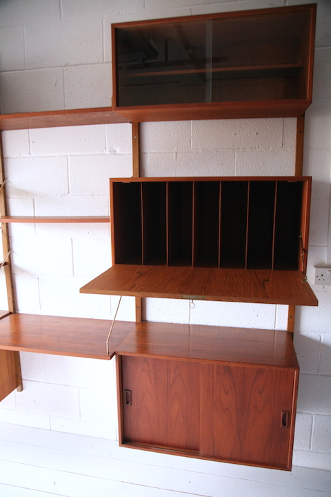 Teak Danish Shelving System Cream And Chrome