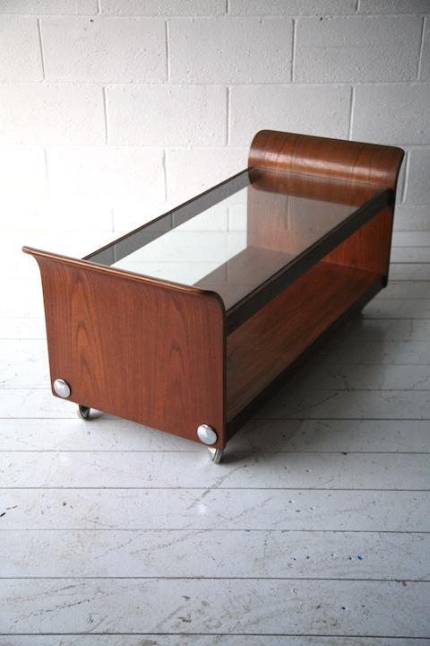 1970s g plan teak tulip glass coffee table cream and for Cream glass coffee table