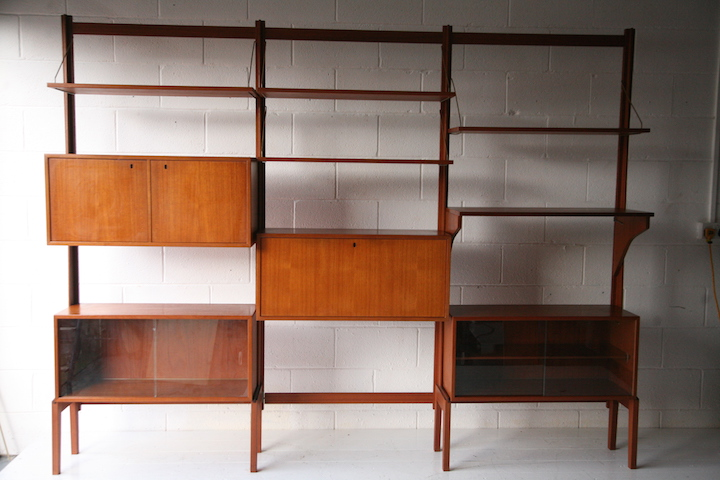 1960s Teak Modular Shelving Unit Cream And Chrome