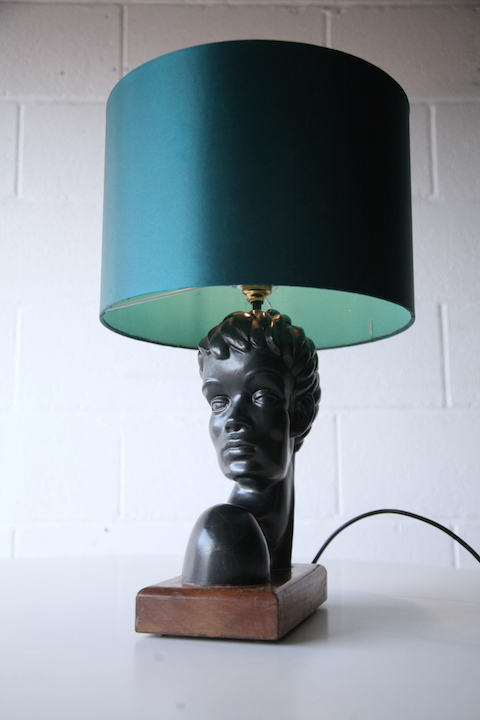 1950s Abstract Figure Table Lamp Cream And Chrome