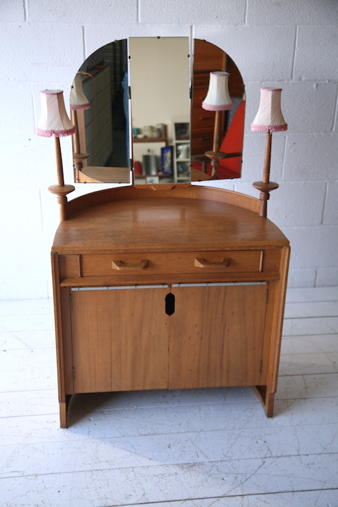 1950s E Gomme Oak Dressing Table Cream And Chrome