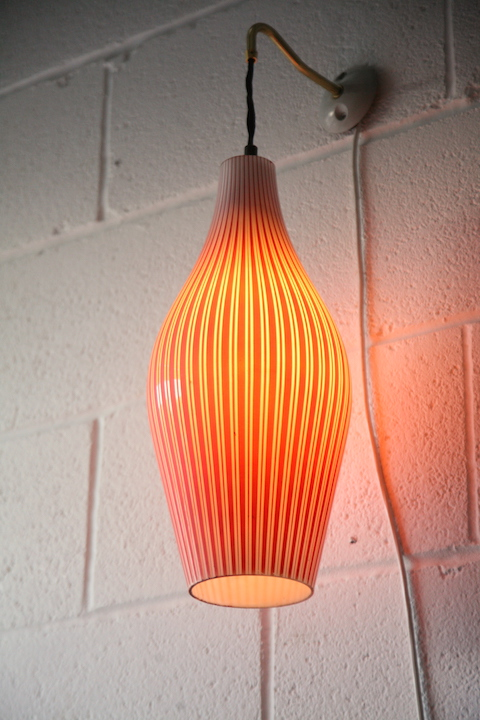 1950s Red Glass Wall Light Cream and Chrome