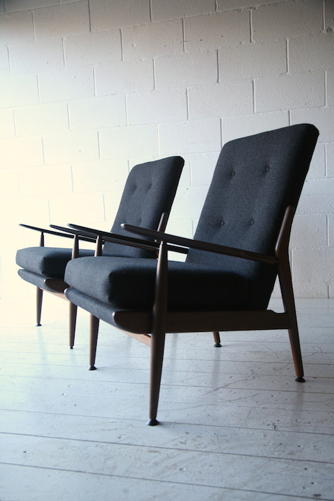 1960s Teak Armchairs By Scandart Cream And Chrome
