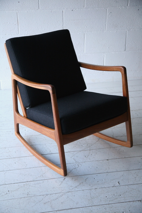 Danish Teak Rocking Chair By Ole Wanscher Cream And Chrome