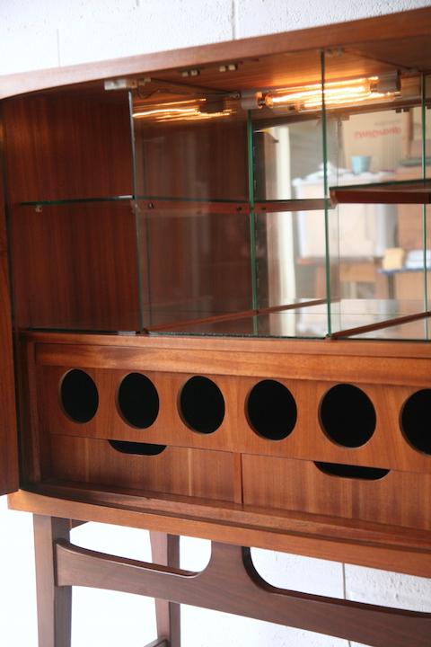 1960s Teak Drinks Cabinet Cream And Chrome