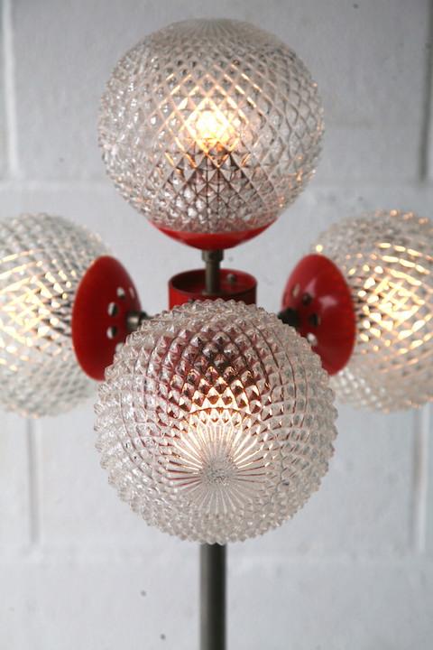 1970s 4 Bulb Orange Floor Lamp Cream And Chrome