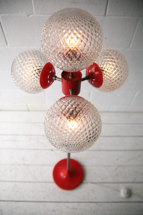 1970s 4 Bulb Orange Floor Lamp