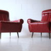 Pair of 1950s Red Vinyl Armchairs 1