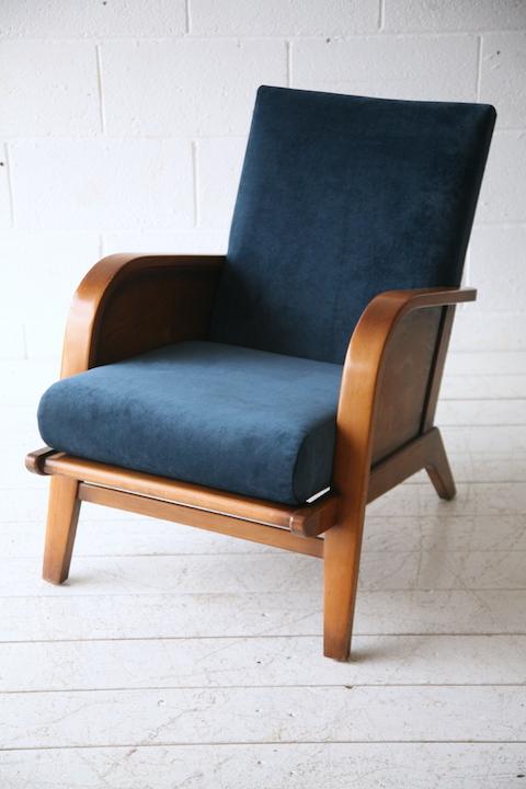 1930s Blue Velvet Armchair   Cream and Chrome