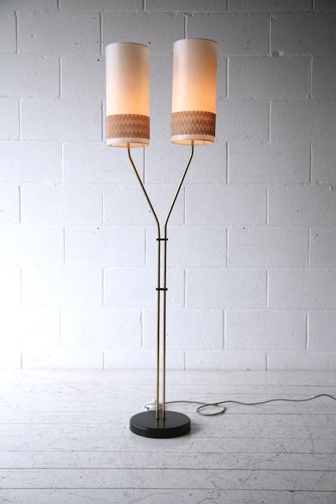 1950s Double Brass Floor Lamp Cream And Chrome