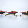 1950s Red Enamel Brass Candle Holders 3