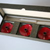 1950s Red Enamel Brass Candle Holders 4
