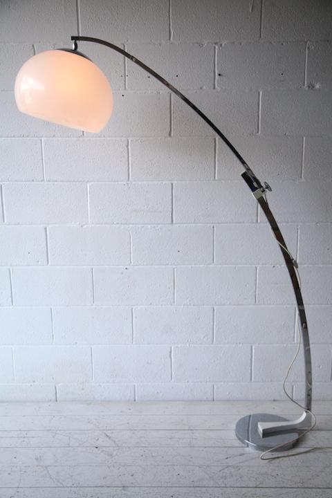 1970s Chrome Arco Floor Lamp Cream And Chrome