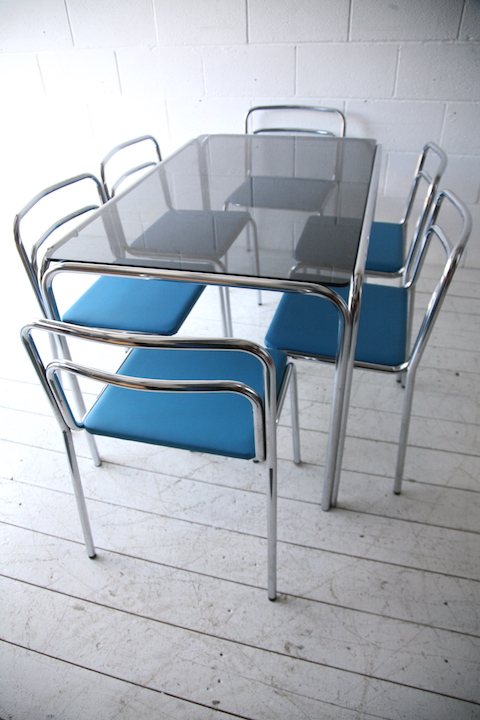 1970s chrome glass dining table and 6 chairs and