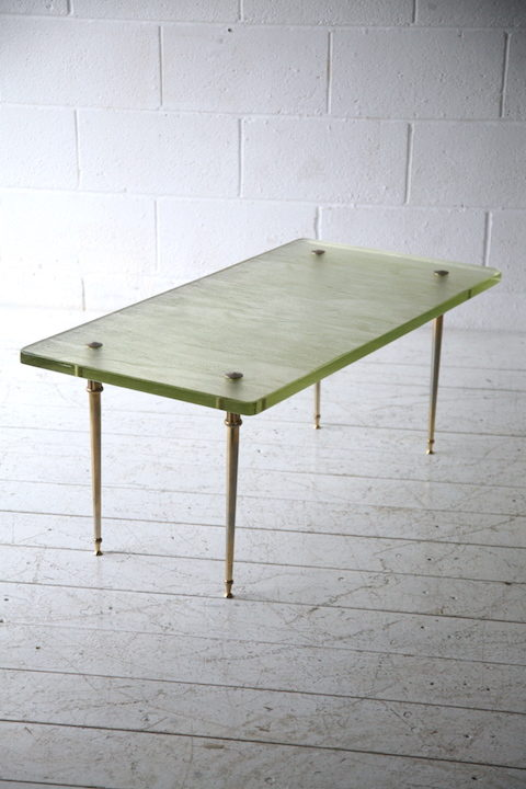Rare 1950s glass coffee table by saint gobain france for Cream glass coffee table