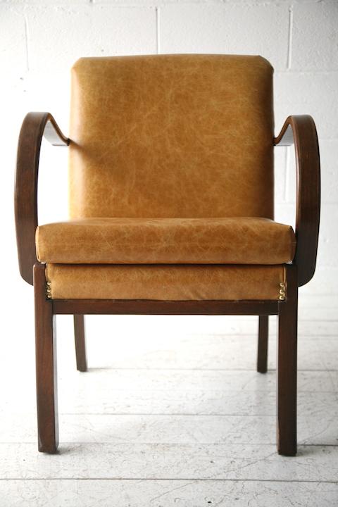 1930s Leather Armchair Cream And Chrome