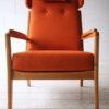 1960s Beech Armchair in Orange Wool