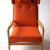 1960s Beech Armchair in Orange Wool 5