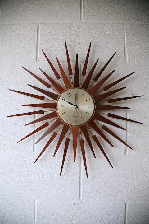 1960s Sunburst Clock By Seth Thomas Cream And Chrome
