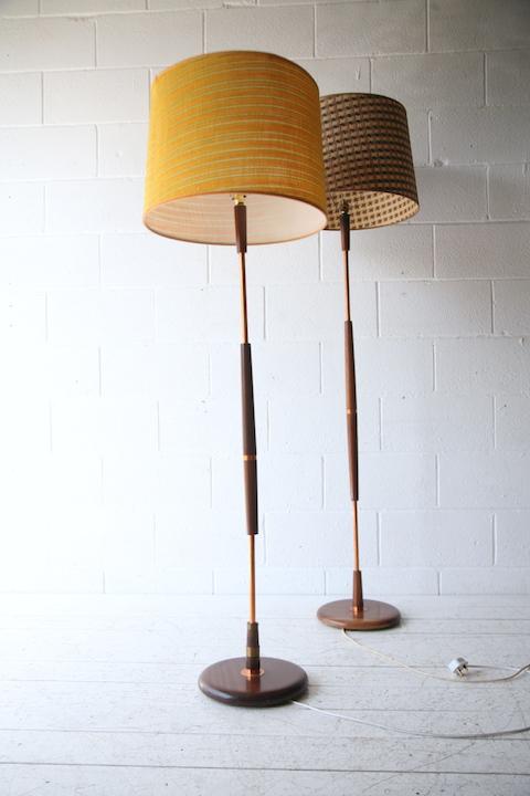 1960s Teak Standard Lamp Cream And Chrome