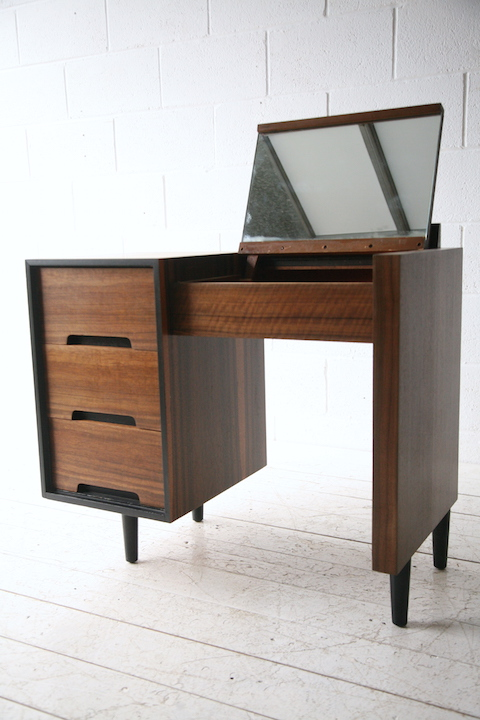 1960s Walnut Stag Dressing Table Desk Cream And Chrome