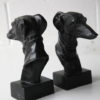 Vintage Pair of Bronze Dog Head Bookends 2