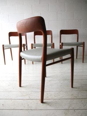 Vintage Teak Dining Chairs by Niels Moller Denmark