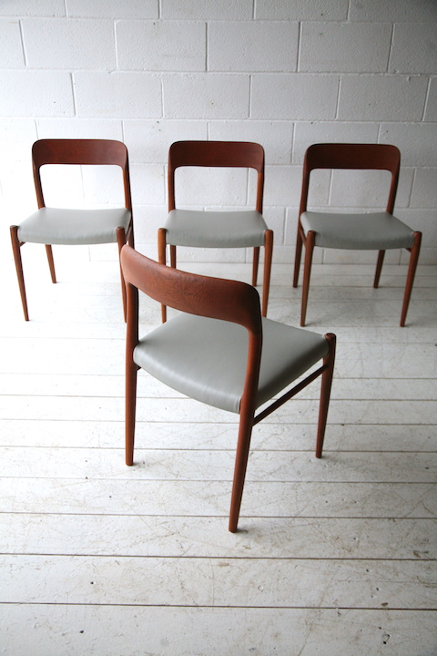 Vintage Moller Dining Chairs ~ Vintage teak dining chairs by niels moller denmark cream