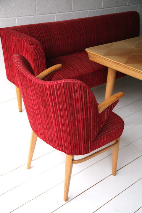 1950s Dining Table Chairs and Bench 1