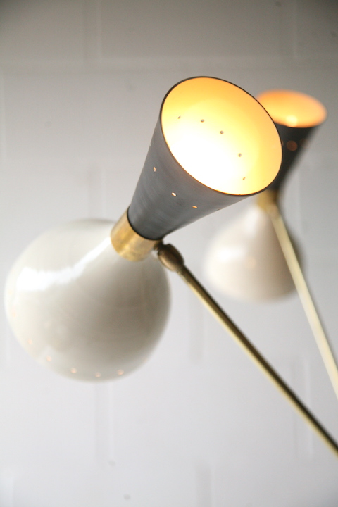 Large 1950s Italian Floor Lamp Cream And Chrome