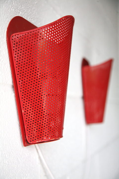 Vintage 1950s Red Wall Lights 3