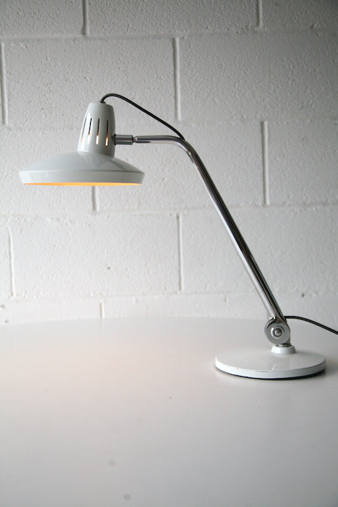 Vintage 1960s Fase Desk Lamp Cream And Chrome
