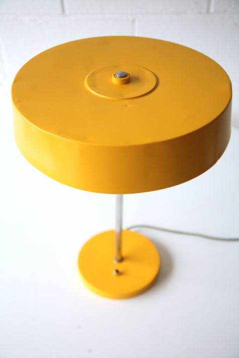 Vintage Yellow 1950s Table Light Cream And Chrome