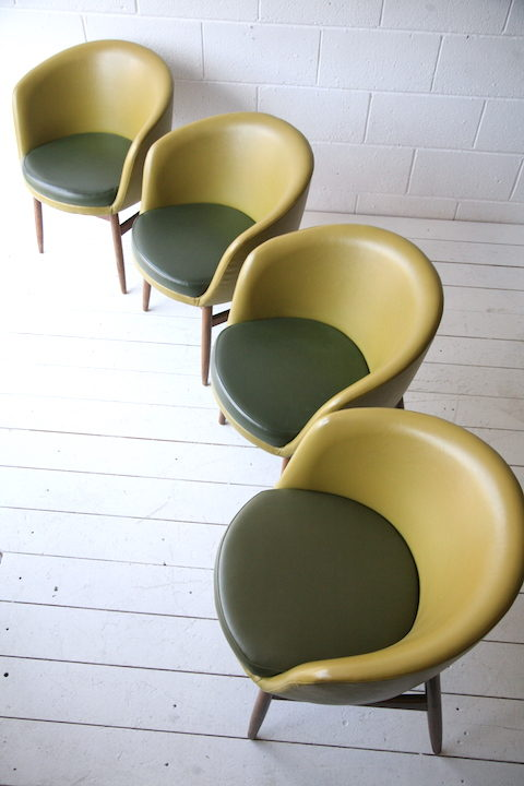 Set of 1960s Tub Chairs | Cream and Chrome