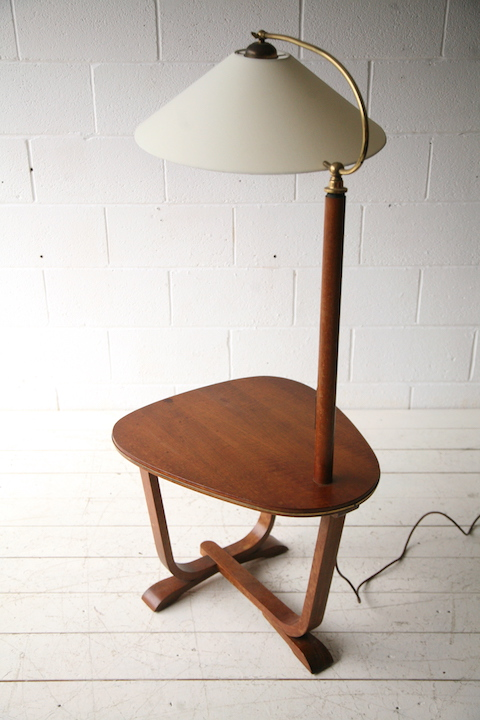 1930s Floor Lamp With Walnut Side Table Cream And Chrome