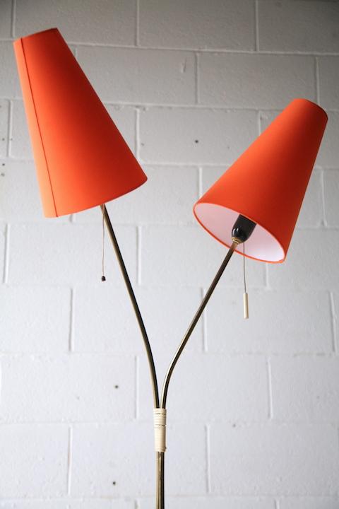 1950s Double Floor Lamp With Orange Shades Cream And Chrome